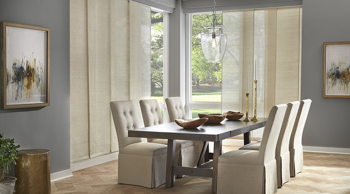 A variety of roller shade styles that can blend in with any kitchen, patio, and dining room design.